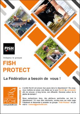 Affiche Fish Protect recrutement de pêcheur sentinelle pratiquant le no-kill carnassiers dans le Nord