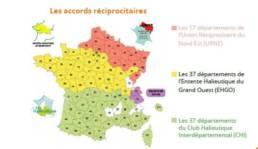 Schéma de la carte de France sur les accords réciprocitaires